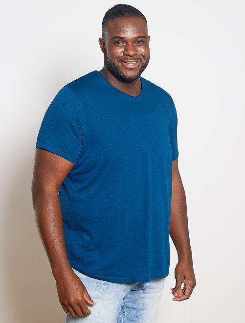 T-shirt met V-hals 'Ecodesign'                                                                 blauw poseidon