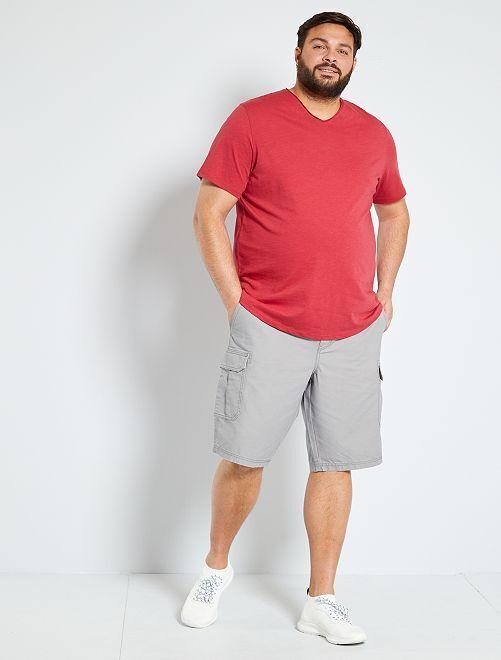 T-shirt met V-hals 'Ecodesign'                                                                 donkerroze