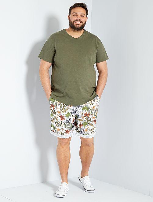 T-shirt met V-hals 'Ecodesign'                                                                 KAKI