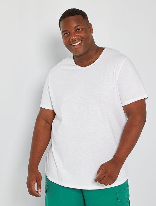 T-shirt met V-hals 'Ecodesign'                                                                     wit