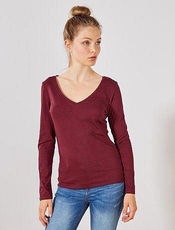 c6d8c75f0bd T-shirt met lange mouw | dames rood | Kiabi