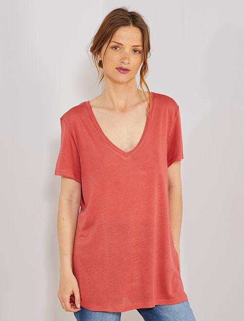 T-shirt met V-hals                                                                                         rood Dameskleding