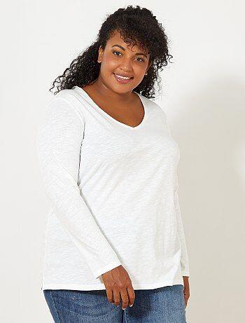 T-shirt met V-hals van gevlamd tricot met lange mouwen - Kiabi