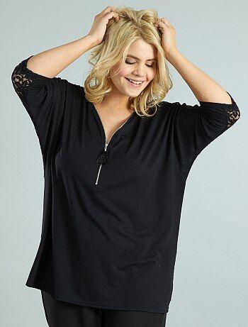 Dames Size+ - T-shirt met vleermuismouwen en kant - Kiabi
