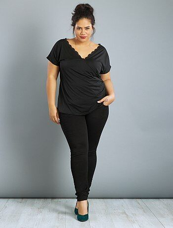 Dames Size+ - T-shirt met wikkelkraag en kant - Kiabi