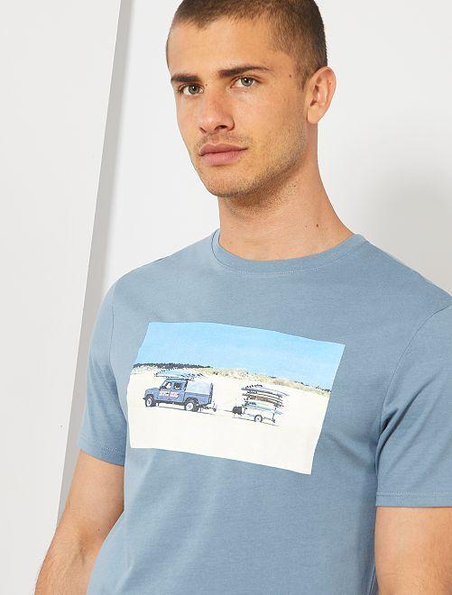 T-shirt met zomer-fotoprint                                                                                         BLAUW Herenkleding