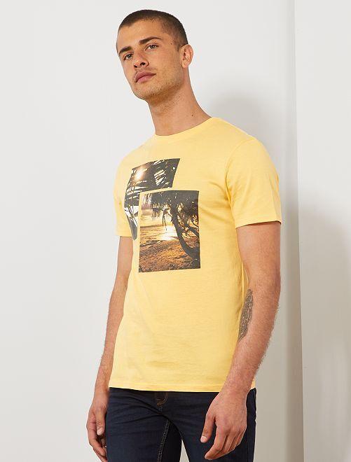 T-shirt met zomer-fotoprint                                                                                         GEEL Herenkleding