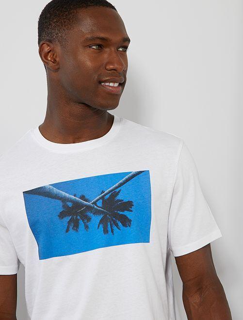 T-shirt met zomer-fotoprint                                                                     WIT