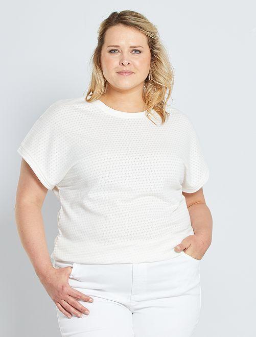 T-shirt van ajourtricot                     sneeuw wit