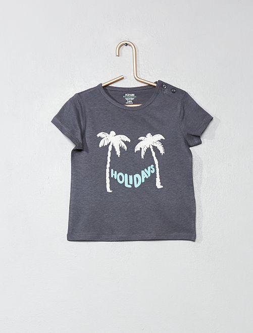 T-shirt van biologisch katoen                                                         GRIJS Jongens babykleding
