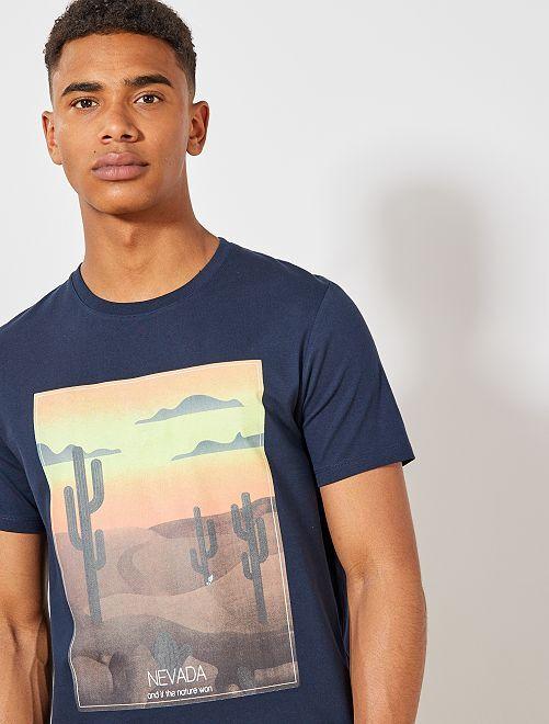 T-shirt van biologisch katoen met print                                 BLAUW Herenkleding