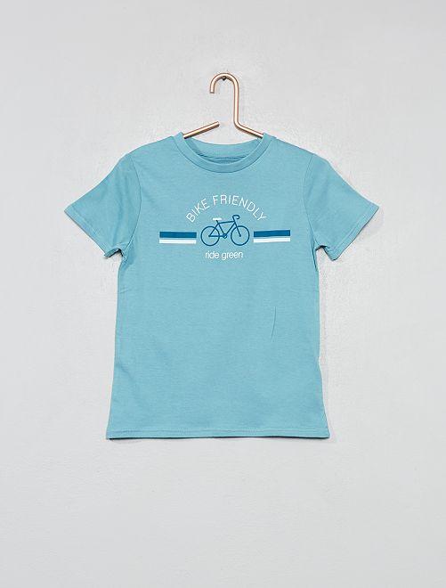 T-shirt van biologisch katoen met print                     BLAUW Kinderkleding jongens
