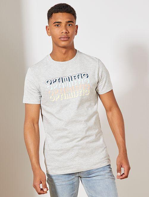 T-shirt van biologisch katoen met print                                                                                                                                                                 GRIJS Herenkleding