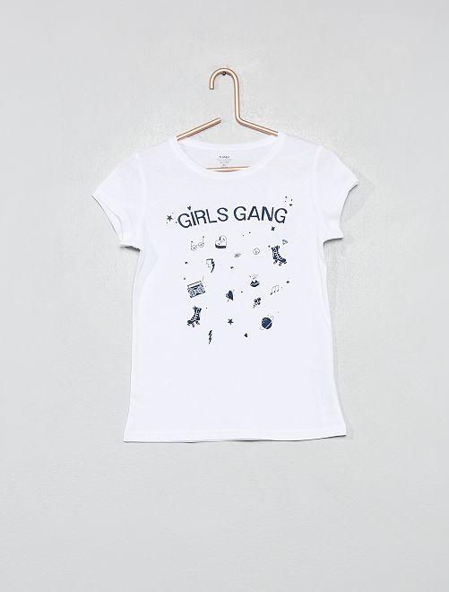 T-shirt van biologisch katoen                                                                                                     WIT Kinderkleding meisjes