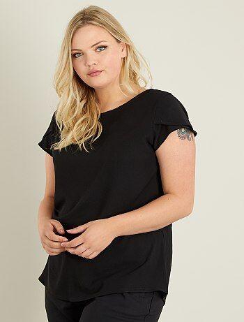 Dames Size+ - T-shirt van crêpestof met opengewerkte rug - Kiabi