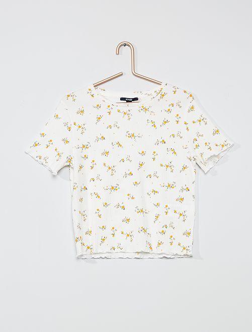 T-shirt van crêpestof met print                             WIT