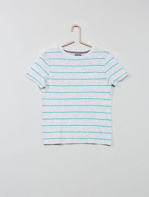 T-shirt van gevlamd tricot                                                     GRIJS