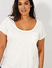 T-shirt van gevlamd tricot
