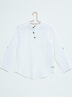T-shirt van katoen en linnen met maokraag