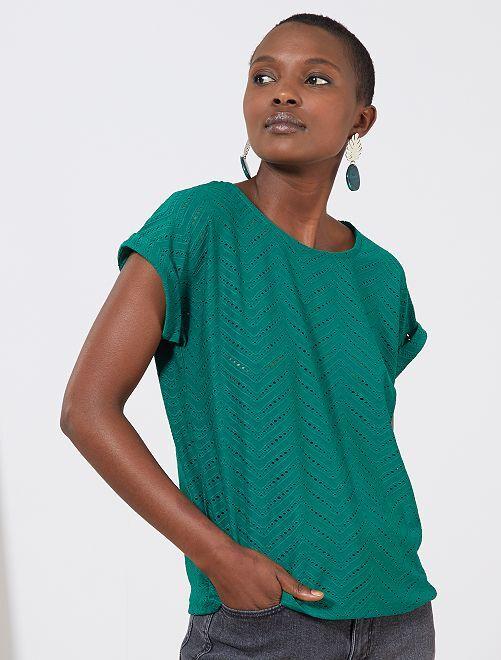 T-shirt van opengewerkt tricot                                                                 GROEN Dameskleding
