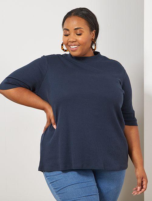 T-shirt van ribstof met knopen                                         BLAUW Dames size+