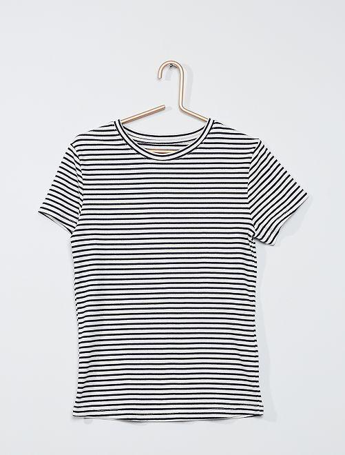 T-shirt van ribtricot 'Ecodesign'                                                         BLAUW