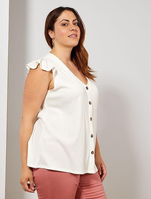 T-shirt van stof met reliëf                                         sneeuw wit Dames size+