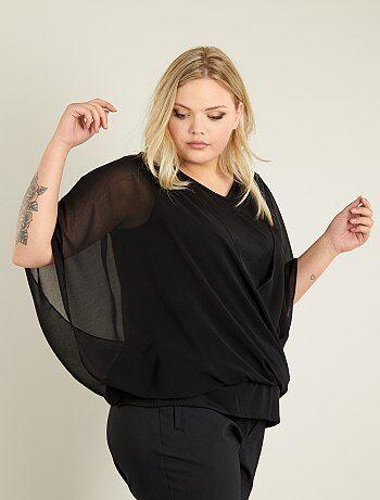 Dames Size+ - T-shirt van voile met 2-in-1-effect - Kiabi