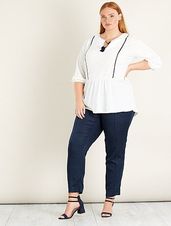 Tricot blouse met een gewafeld effect en kwastjes - Kiabi