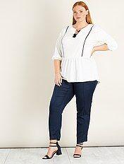 Tricot blouse met een gewafeld effect en kwastjes