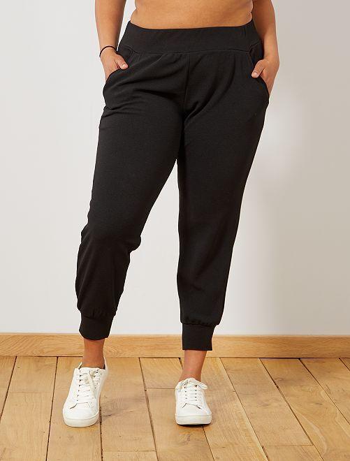 Tricot broek met strakke pijpen                             zwart