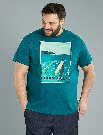 Herenmode grote maten - Tricot T-shirt met 'Bora Bora'-print - Kiabi