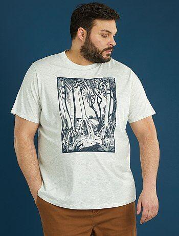 Herenmode grote maten - Tricot T-shirt met mangroveprint - Kiabi