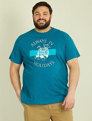 Herenmode grote maten - Tricot T-shirt met tropische print - Kiabi