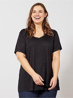 T-shirt - Tricot T-shirt met V-hals - Kiabi