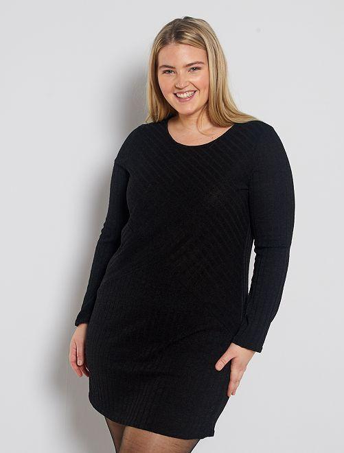 Trui-jurk van siertricot                             zwart
