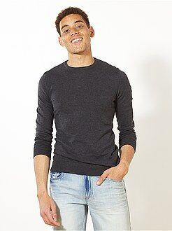 Trui, vest - Trui met een ronde hals van fijn gebreid tricot