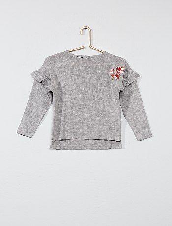Trui van fijn tricot met borduursels - Kiabi