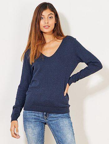 Trui van fijn tricot met V-hals - Kiabi