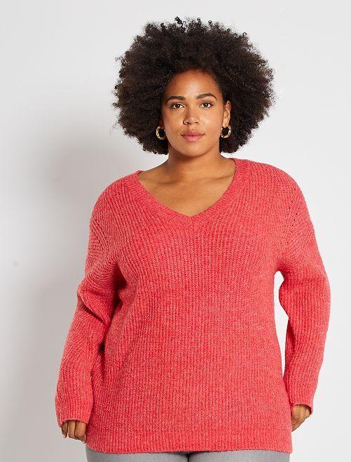 Trui van grof gebreid, gemêleerd tricot -                                         rood