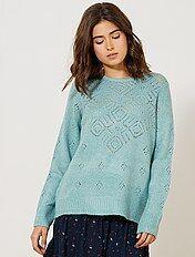 Trui van opengewerkt tricot