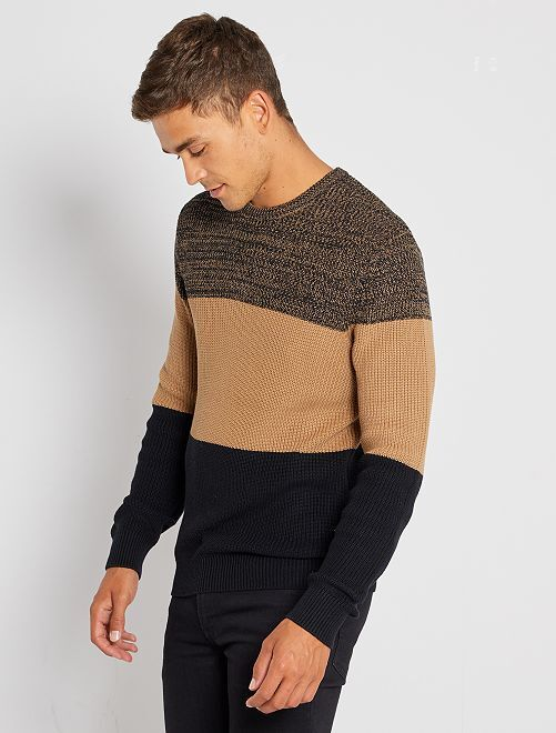 Trui van tricot met color block                                         BIEGE
