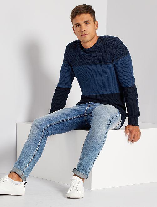 Trui van tricot met color block                                         BLAUW