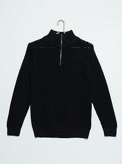 Truien & vesten - Trui van tricot met een rits bij de kraag