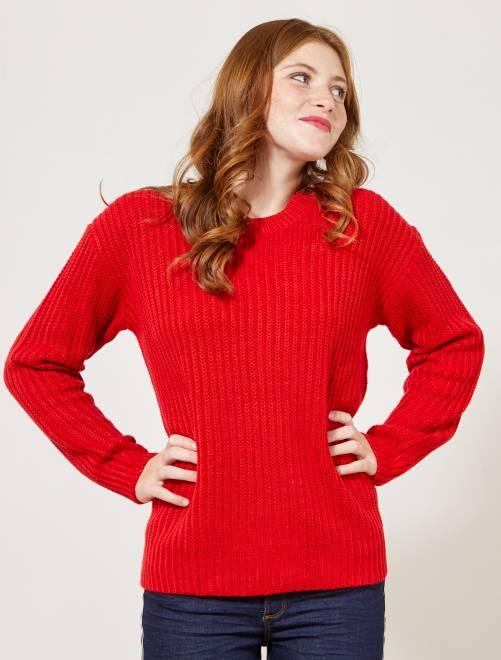 Trui van tricot met parelsteek                                                                                 ROOD Dameskleding