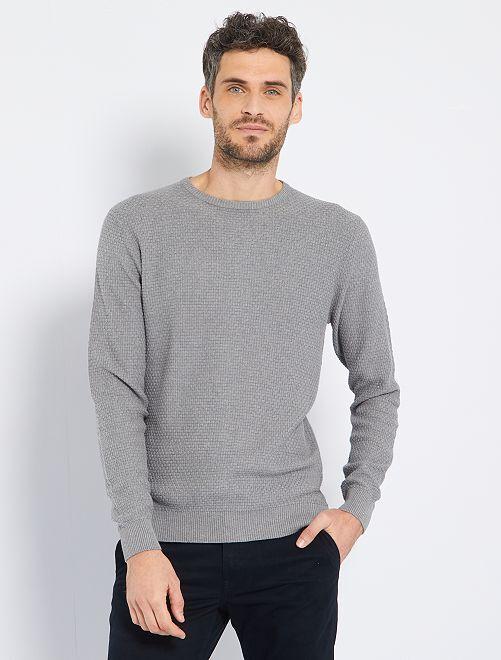 Trui van tricot met textuur 'Ecodesign'                                                     GRIJS
