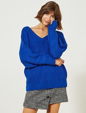 Trui van tricot met V-hals voor en achter - Kiabi