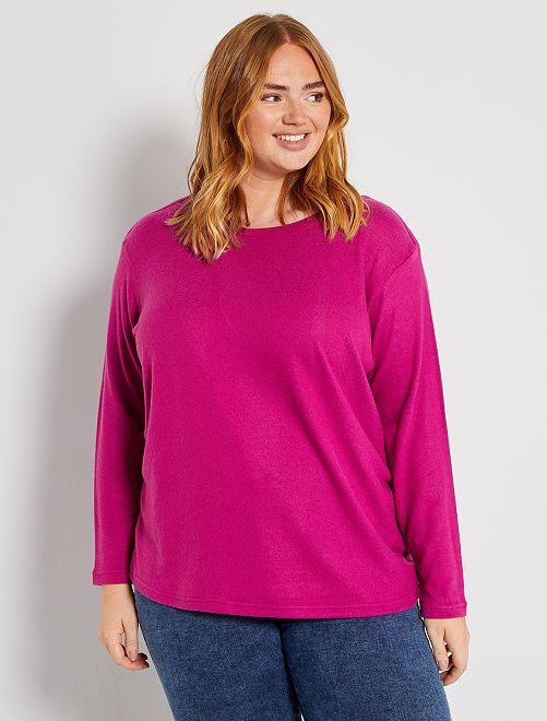 Trui van zacht tricot                                                                 fuchsia paars