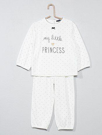 Meisje 0-36 maanden - Tweedelige fluwelen pyjama - Kiabi