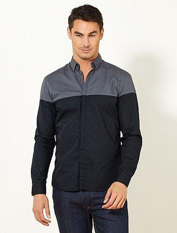 Tweekleurig fitted overhemd - Kiabi